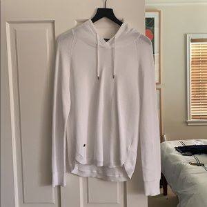 White waffle knit Ralph Lauren hoodie